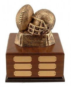 Fantasy Football Trophy # 13 Golden Ball and Helmet