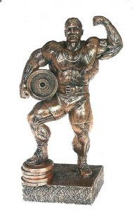 "Powerlifter w/Weight 14"" Weightlifting Sculpture Trophy"