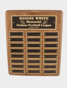 Walnut Commissioner's Plaque Fantasy Football Trophy # 21