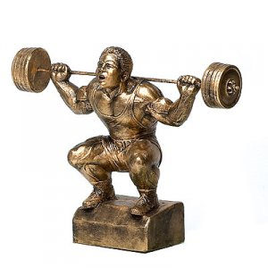 "Squatter 16"" Weightlifting Powerlifting Sculpture Trophies"