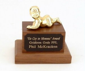 Crybaby Whiner Trophy Funny Fantasy Football Loser Trophies