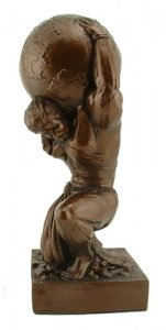 "Atlas Sculpture Female 15.5"" Weightlifting Statue Strongman T"