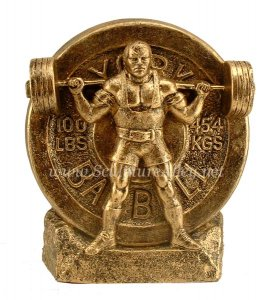 Squat Weightlifting Trophy, Squatter Strongman Sculpture