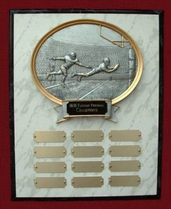 Commissioner's Plaque Oval Fantasy Football Trophy # 20