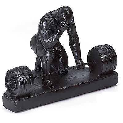 Thinker Weightlifting Powerlifting Sculpture Trophy - Click Image to Close
