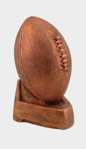 Copper Football on Tee Sculpture Fantasy Football Keeper Trophy