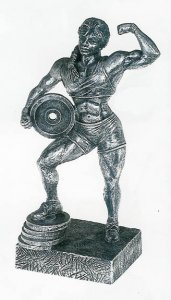 "Female Powerlifter w/ Weight 14"" Weightlifting Sculpture Trophy"