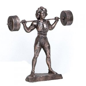 "Female Starting Squatter 17"" Weightlifting Sculpture Trophy"