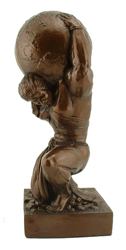 "Atlas Sculpture Female 15.5"" Weightlifting Statue Strongman T - Click Image to Close"