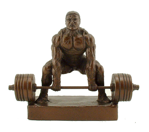 "Deadlift Down 10"" Weightlifting Trophy Powerlifting Sculpture - Click Image to Close"